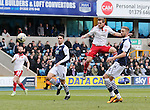 Sheffield United's Billy Sharp fires in a header during the League One match at The Den.  Photo credit should read: David Klein/Sportimage