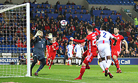 Ben Woodburn of Wales heads the ball towards goal during the International Friendly match between Wales and Panama at The Cardiff City Stadium, Wales, UK. Tuesday 14 November 2017