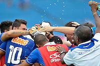 VARGINHA, MG, 17 DE MARCO DE 2013 - CAMPEONATO MINEIRO 2013 - BOA ESPORTE x CRUZEIRO - Na foto, Diego Souza, do Cruzeiro, comemora gol marcado contra o Boa Esporte. Partida valida pela 6 rodada do Campeonato Mineiro 2013, no Estadio Melao em Varginha.