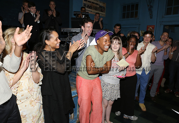 Anastacia McCleskey and company during the Opening Night Broadway AEA Gypsy Robe Ceremony honoring Anastacia McCleskey for 'Violet'  at The American Airlines Theatre on April 20, 2014 in New York City.
