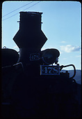 Close view of stack and headlamp on D&amp;RGW #478 K-28 in Durango. The diamond stack is fake.<br /> D&amp;RGW  Durango, CO