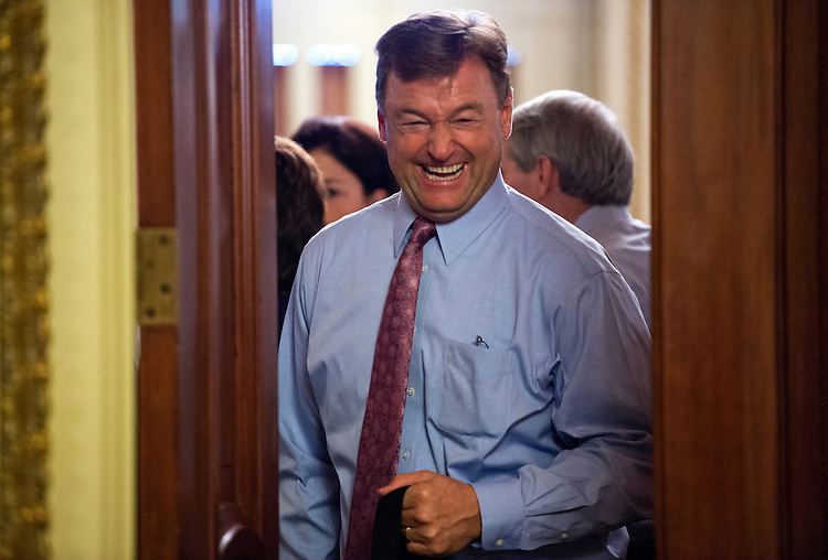 UNITED STATES - JANUARY 14: Sen. Dean Heller, R-Nev., leaves the Republican senate luncheon in the Capitol. (Photo By Tom Williams/CQ Roll Call)