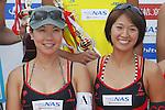 (L to R) Keiko Urata, Miwa Asao, MAY 6, 2012 - Beach Volleyball : JBV Tour 2012 Sports Club NAS Open  Women's victory ceremony at Odaiba Beach, Tokyo, Japan. (Photo by Yusuke Nakanishi/AFLO SPORT) [1090]