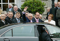 14/06/2007.Taoiseach Bertie Ahern TD leaves Leinster House after the opening of the 30th Dail at Leinster House, Dublin..Photo: Gareth chaney Collins