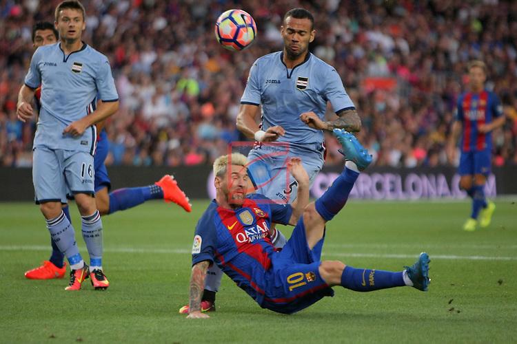 League Santander 2016/2017.<br /> 51e Trofeu Joan Gamper.<br /> FC Barcelona vs UC Sampdoria: 3-2.<br /> Lionel Messi vs Leandro Castan.