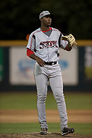 Lake Elsinore Storm relief pitcher Dauris Valdez (32) during a California League game against the Modesto Nuts at John Thurman Field on May 12, 2018 in Modesto, California. Lake Elsinore defeated Modesto 4-1. (Zachary Lucy/Four Seam Images)