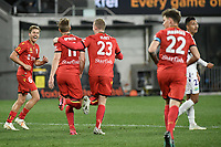 30th July 2020; Bankwest Stadium, Parramatta, New South Wales, Australia; A League Football, Adelaide United versus Perth Glory; Kristian Opseth of Adelaide United celebrates his goal with Stefan Mauk and Jordan Elsey of Adelaide United  in the 38th minute