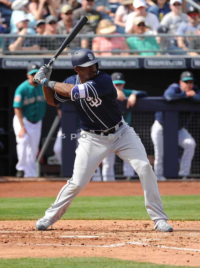 San Diego Padres Jabari Bash (62) during a preseason game against the Seattle Mariners on March 2, 2016 at the Peoria Sports Complex in Peoria, AZ. The Mariners beat the Padres 6-5.