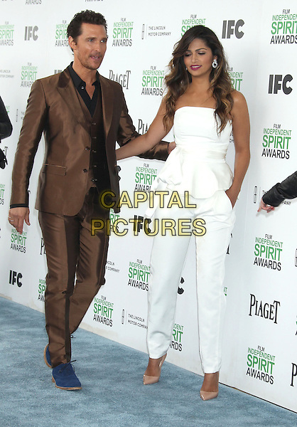 1 March 2014 - Santa Monica, California - Matthew McConaughey, Camila Alves. 2014 Film Independent Spirit Awards held at Santa Monica Beach. <br /> CAP/ADM/RE<br /> &copy;Russ Elliot/AdMedia/Capital Pictures