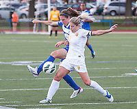 In a National Women's Soccer League Elite (NWSL) match, the Boston Breakers defeated the Western New York Flash  2-1, at Dilboy Stadium on May 5, 2013.  Western New York Flash midfielder McCall Zerboni (7) and Boston Breakers midfielder Heather O'Reilly (9) battle for the ball.