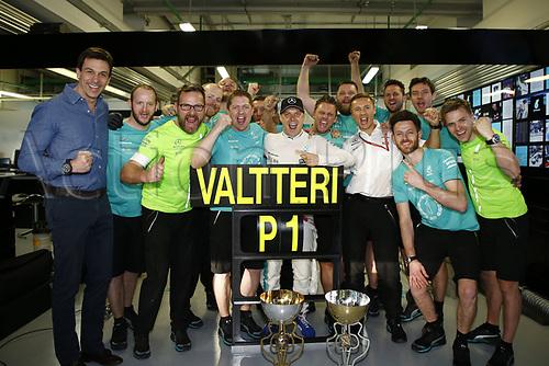April 30th 2017, Sochi, Russia;  FIA Formula One World Championship 2017, Grand Prix of Russia, <br /> #77 Valtteri Bottas (FIN, Mercedes AMG Petronas) wins with his team