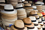 Typical hats on display in marketplace in Ecuador