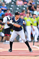 Seby Zavala of the Kannapolis Intimidators awaits a pitch during the home run derby as part of the All Star Game festivities at Spirit Communications Park on June 19, 2017 in Columbia, South Carolina. The Soldiers defeated the Celebrities 1-0. (Tony Farlow/Four Seam Images)