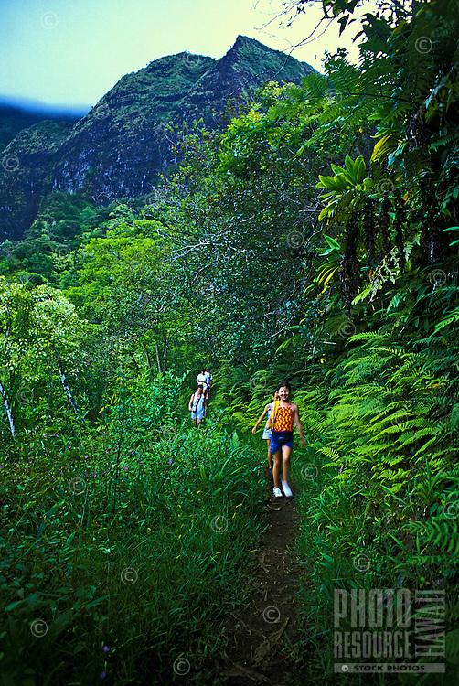 EDITORIAL ONLY. Hiking on Maunawili trail, near Kailua, windward Oahu