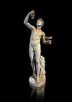 Roman marble sculpture of Faun, a 2nd century AD copy from an original of a late 2nd - 1st century BC late Hellanistic Greek original, inv 6332 Farnes Collection Naples Museum of Archaeology, Italy