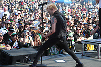 03/17/19 Fontana, CA: Deryck Whibley and SUM 41 perform before the Auto Club 400 at the Auto Club Speed Way in Fontana, CA