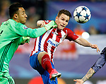 Atletico de Madrid's Kevin Gameiro (r) and Real Madrid's Keylor Navas during Champions League 2016/2017 Semi-finals 2nd leg match. May 10,2017. (ALTERPHOTOS/Acero)