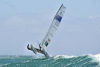 Helm: Jason Waterhouse / Crew: Lisa Darmanin (AUS)<br /> Racing -Day 4 / Nacra 17<br /> ISAF Sailing World Cup - Melbourne<br /> Sandringham Yacht Club<br /> Thursday 11 December 2014<br /> &copy; Sport the library / Jeff Crow