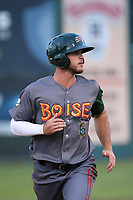 Sean Bouchard (6) of the Boise Hawks runs the bases during a game against the Everett AquaSox at Everett Memorial Stadium on July 20, 2017 in Everett, Washington. Everett defeated Boise, 13-11. (Larry Goren/Four Seam Images)