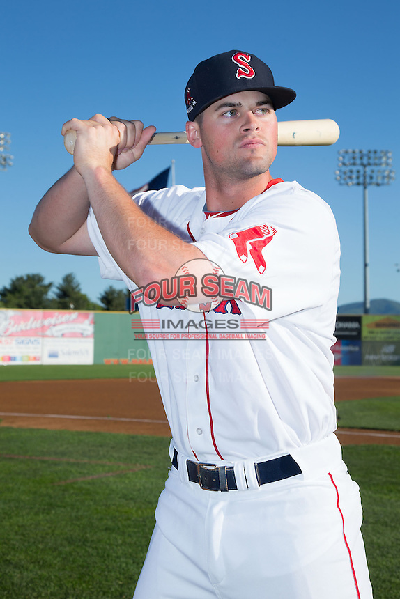 Salem Red Sox third baseman Jordan Betts (41) poses for a photo prior to the game against the Winston-Salem Dash at LewisGale Field at Salem Memorial Ballpark on May 13, 2015 in Salem, Virginia.  (Brian Westerholt/Four Seam Images)