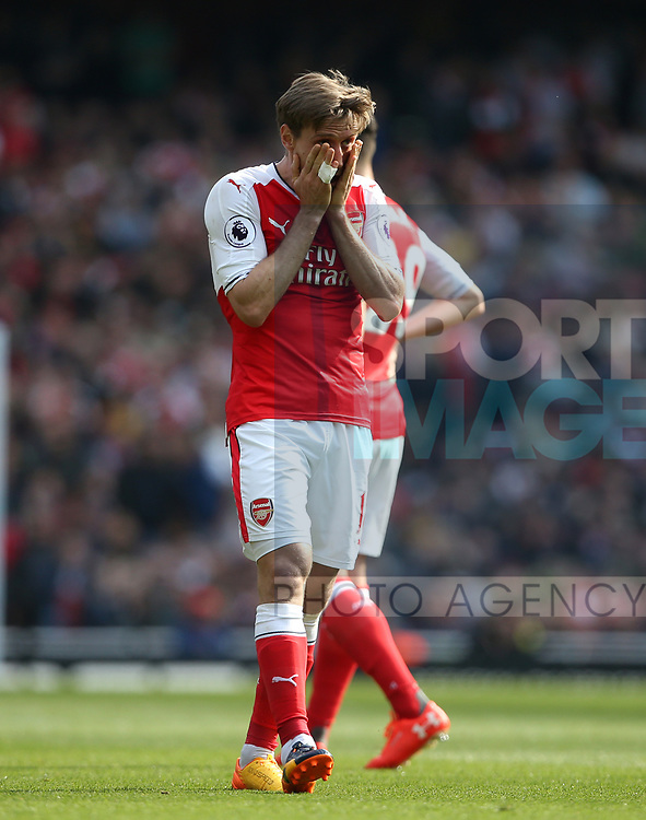 Arsenal's Nacho Monreal looks on dejected during the Premier League match at the Emirates Stadium, London. Picture date: May 7th, 2017. Pic credit should read: David Klein/Sportimage