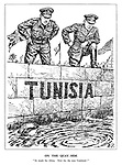 """On the Quay-side. """"So much for Africa. Now for the next Continent!"""" (Field Marshall Alexander and General Eisenhower look over the port wall at Tunisia to see a drowned German with only his helmet afloat)"""