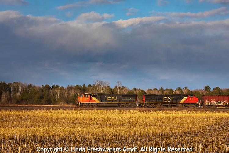 CN freight train passing through a farming community in Exeland, Wisconsin.