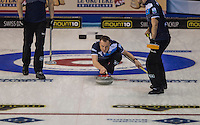 Glasgow. SCOTLAND.  Scotland Men's &quot;Skip&quot; Tom BREWSTER,  &quot;Round Robin&quot; Games. Le Gruy&egrave;re European Curling Championships. 2016 Venue, Braehead  Scotland<br /> Monday  21/11/2016<br /> <br /> [Mandatory Credit; Peter Spurrier/Intersport-images]
