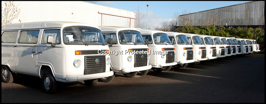 BNPS.co.uk (01202 558833)<br /> Pic: LauraJones/BNPS<br /> <br /> Some of the last ever VW campervans at Danbury MotorCaravans. <br /> <br /> The last ever delivery of brand new Volkswagen campervans has arrived in Britain marking the end of an era for the iconic 'hippy bus'.<br /> <br /> Ninety nine of the final batch of vans rolled off the production line and onto a container ship bound for British shores after manufacture ceased for good in Brazil in December.<br /> <br /> And though the consignment has only just arrived, almost all of the vans have already been snapped up by eager buyers happy to fork out the £35,000 starting price.<br /> <br /> They are the last brand new campers in all of Europe.