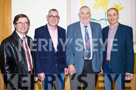 Attending the Crotta GAA Social in Ballyroe Hotel on Friday night last, L-r John Howard, Fenton O'Connor, Joe Walsh, Fergus O'Sullivan.