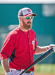 11 March 2014: Washington Nationals first baseman Adam LaRoche awaits his turn in the batting cage prior to a Spring Training game against the New York Yankees at Space Coast Stadium in Viera, Florida. The Nationals defeated the Yankees 3-2 in Grapefruit League play. Mandatory Credit: Ed Wolfstein Photo *** RAW (NEF) Image File Available ***