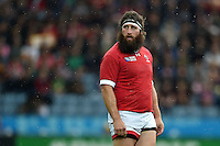 Hubert Buydens of Canada looks on during a break in play. Rugby World Cup Pool D match between Canada and Romania on October 6, 2015 at Leicester City Stadium in Leicester, England. Photo by: Patrick Khachfe / Onside Images