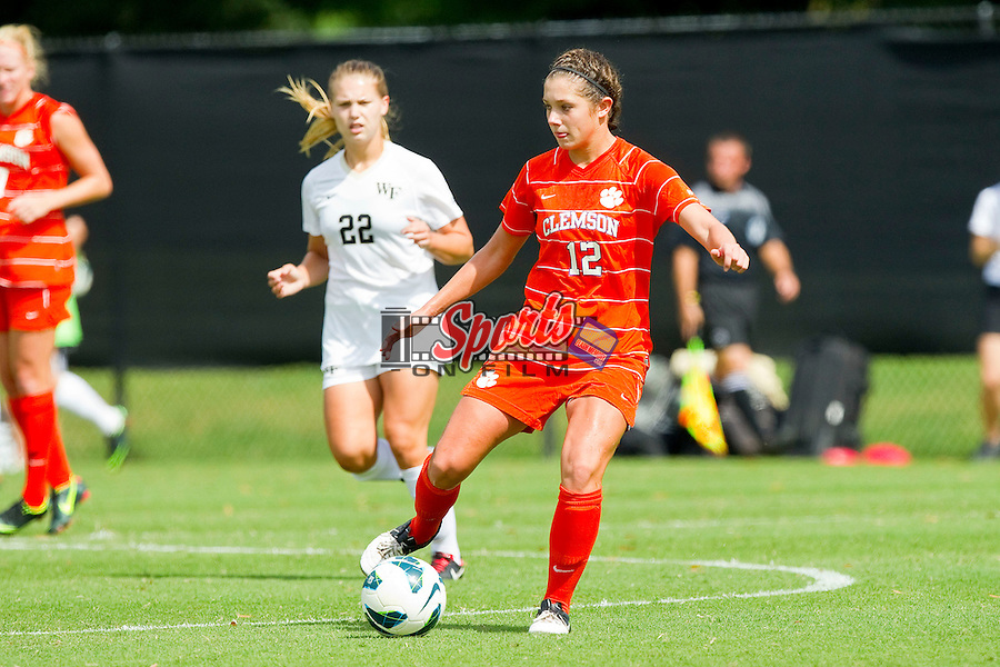 Katelyn Reeve (12) of the Clemson Tigers in action against the Wake Forest Demon Deacons at Spry Soccer Stadium on September 30, 2012 in Winston-Salem, North Carolina.  The Demon Deacons defeated the Tigers 4-0.  (Brian Westerholt/Sports On Film)