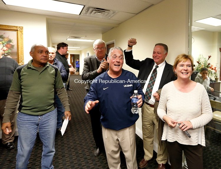 Waterbury, CT- 08 November 2016-110816CM12-   State Rep. Candidate Jeffrey Berger, D-73rd, celebrates with his wife Noreen, and supporters at the Democratic headquarters on Bank Street in Waterbury on Tuesday. Berger defeated Republican challenger, Steve Giacomi.   Christopher Massa Republican-American