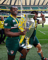 Vereniki Goneva (left) and Logovi'i Mulipola of Leicester Tigers with the trophy after the Aviva Premiership Final between Leicester Tigers and Northampton Saints at Twickenham Stadium on Saturday 25th May 2013 (Photo by Rob Munro)