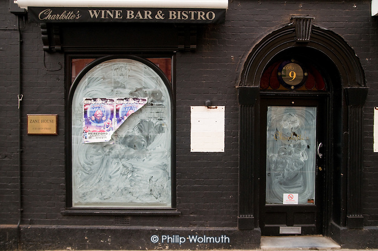 Closed wine bar and bistro in the centre of Hereford.  The market town has been badly hit by the economic crisis.