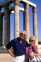 Retired senior couple on holiday in Athens Greece at the Temple of Zeus