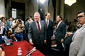 United States Attorney General Edwin Meese, III arrives to give testimony before the US House Select Committee to Investigate Covert Arms Transactions with Iran / US Senate Select Committee on Secret Military Assistance to Iran and the Nicaraguan Opposition (Iran/Contra Committee) on Capitol Hill in Washington, DC on July 28, 1987.<br /> Credit: Ron Sachs / CNP
