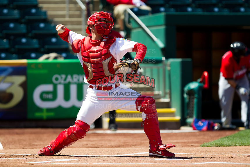 Charlie Cutler (37) of the Springfield Cardinals throws to second base during a game against the Frisco RoughRiders on April 16, 2011 at Hammons Field in Springfield, Missouri.  Photo By David Welker/Four Seam Images