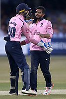 Ravi Patel of Middlesex celebrates taking the wicket of Varun Chopra during Essex Eagles vs Middlesex, Vitality Blast T20 Cricket at The Cloudfm County Ground on 6th July 2018