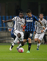 Calcio, Serie A: Inter vs Juventus. Milano, stadio San Siro, 18 ottobre 2015. <br /> FC Inter's Stevan Jovetic, center, is challenged by Juventus&rsquo; Paul Pogba during the Italian Serie A football match between FC Inter and Juventus, at Milan's San Siro stadium, 18 October 2015.<br /> UPDATE IMAGES PRESS/Isabella Bonotto