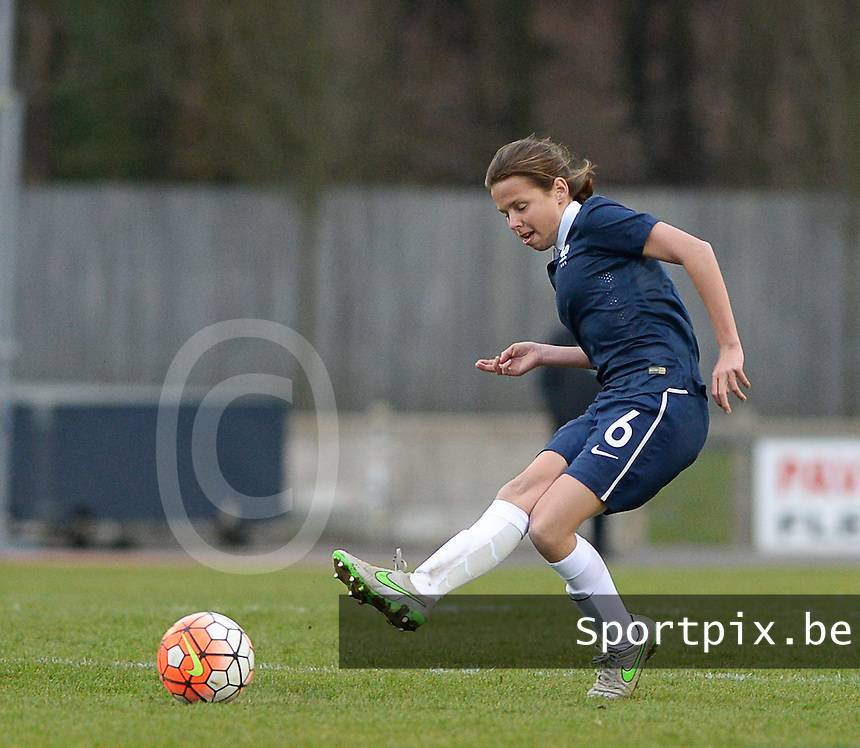 20160319 - FLERS , FRANCE : French Romane Enguehard pictured during the soccer match between the women under 17 teams of  France and the Czech Republic , on the first matchday in group 3 of the UEFA Women Under17 Elite rounds at Stade du Haze in Flers , France . Saturday 19th March 2016 . PHOTO DAVID CATRY