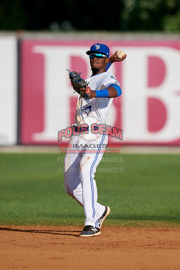 Bluefield Blue Jays shortstop Luis De Los Santos (1) throws to first base during the first game of a doubleheader against the Bristol Pirates on July 25, 2018 at Bowen Field in Bluefield, Virginia.  Bluefield defeated Bristol 6-3.  (Mike Janes/Four Seam Images)
