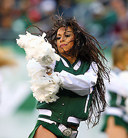 The New York Jets playing the Texans at the New Meadowlands Stadium on Sunday, November 21, 2010. The Jets defeated the Texans 30-27. Photo by Errol Anderson New York Jets cheerleader during the Jets, Texans game  at the New Meadowlands Stadium on Sunday, November 21, 2010. The Jets defeated the Texans 30-27. Photo by Errol Anderson