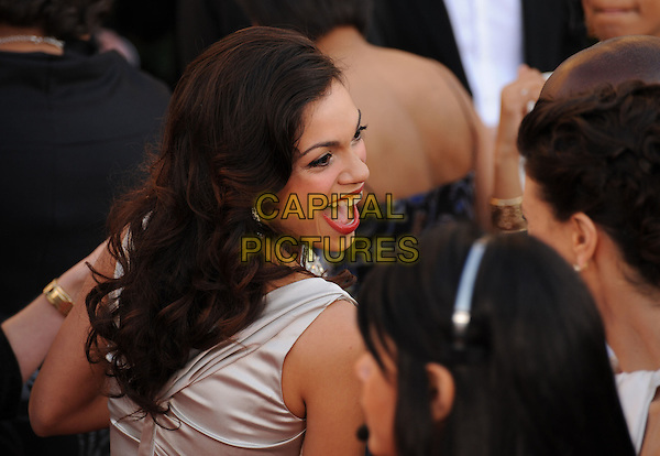 ROSARIO DAWSON.The 15th Annual Screen Actor's Guild Awards held at The Shrine Auditorium in Los Angeles, California, USA..January 25th, 2009.SAG arrivals half length mouth open looking over shoulder laughing silver silk satin .CAP/DVS.©Debbie VanStory/Capital Pictures.
