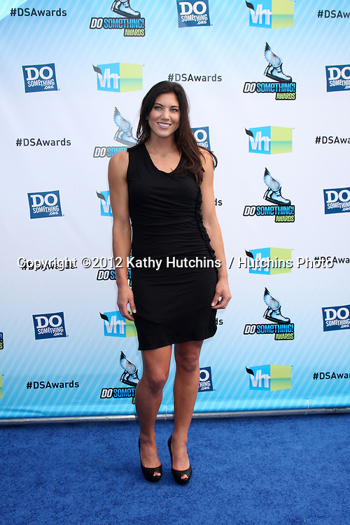 Los Angeles - AUG 19:  Hope Solo arrives at the 2012 Do Something Awards at Barker Hanger on August 19, 2012 in Santa Monica, CA