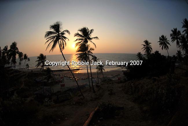 Sunset on the Little Vagator beach in Goa in India.