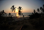 Sunset on the Little Vagator beach in Goa in India.