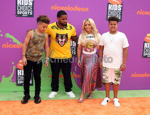 13 July 2017 - Los Angeles, California - Chanel Fielder, Jadyn Fielder, Prince Fielder, Haven Fielder. Nickelodeon Kids' Choice Sports Awards 2017 held at Pauley Pavilion. Photo Credit: F. Sadou/AdMedia