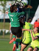 Kansas City, MO - Saturday June 25, 2016: Hope Solo, Shea Groom, Merritt Mathias during a regular season National Women's Soccer League (NWSL) match at Swope Soccer Village.